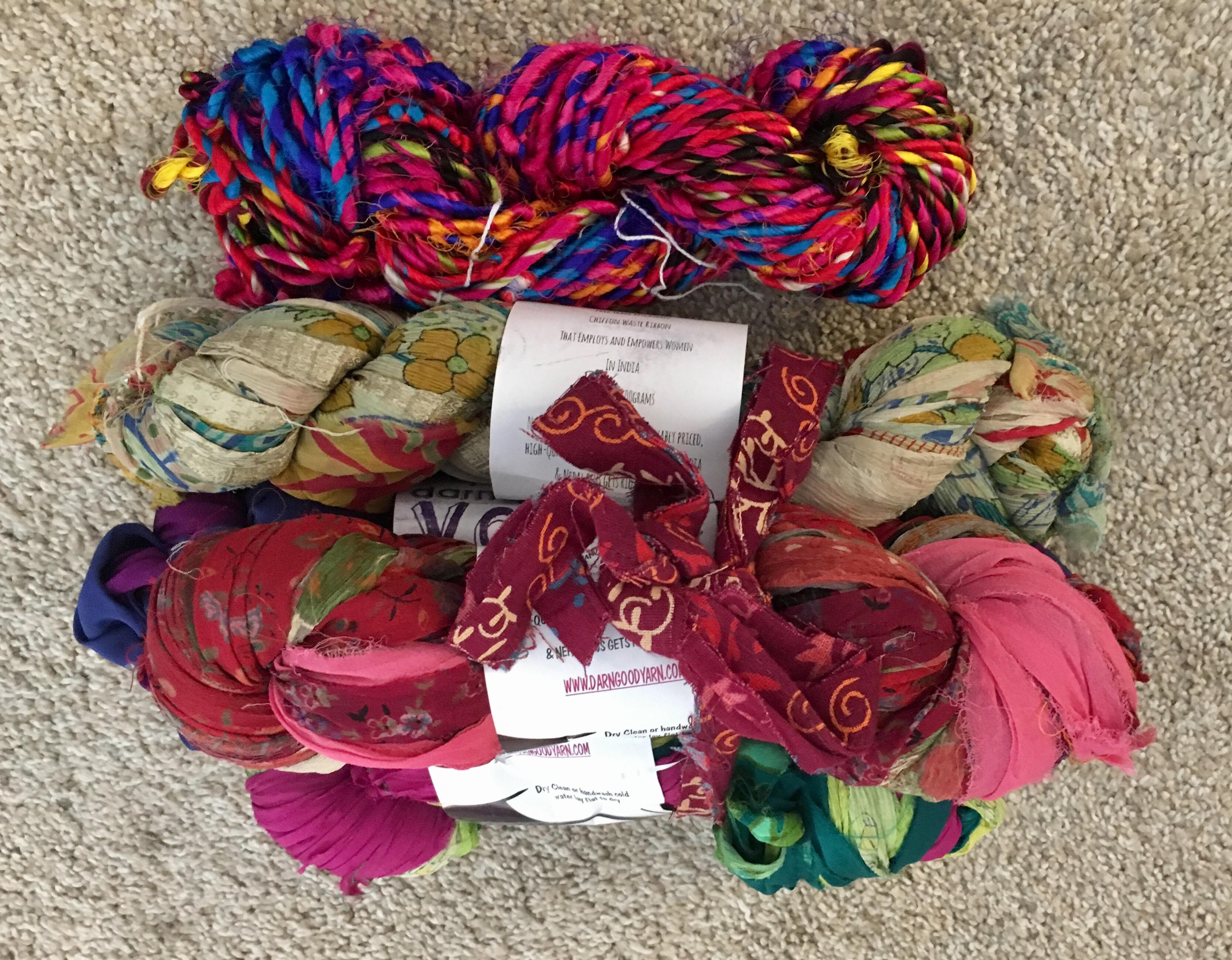 Chiffon sari silk ribbon yarn an market tote kit review